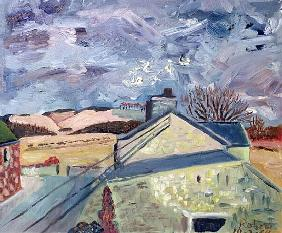 Doves at High Barns, 1998 (oil on canvas)