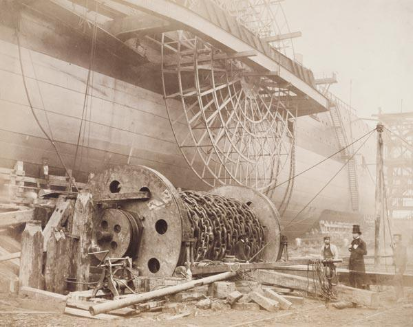 Isambard Kingdom Brunel (1806-59) beside the 'Great Eastern', c.1857 (photo) 20th