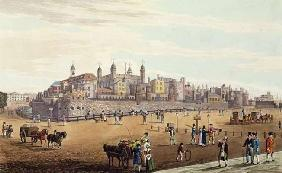 View of the Tower of London and the Mint, pub. by Colnaghi & Co, 1821 (coloured aquaint) 18th