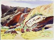 Ron  Waddams - Aspects of Uluru (Ayers Rock), Australia (w/c)