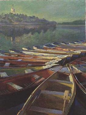 Evening Boats, China (oil on canvas)