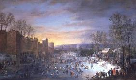 Ice Skating on the Stadtgraben in Brussels 1649