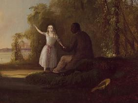 Detail of 'Uncle Tom and Little Eva' 1853