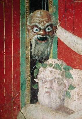 The Head of the Elderly Silenus, Above which is a Silenus Mask, East Wall, Oecus 5 60-50 BC