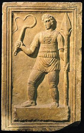 Relief depicting a gladiator holding a whip and a spear