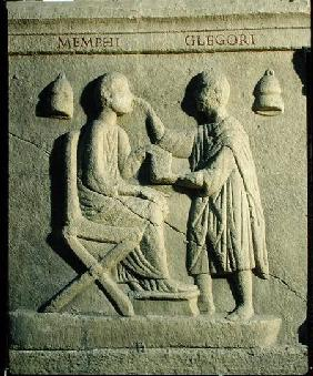 Relief depicting an oculist examining a patient
