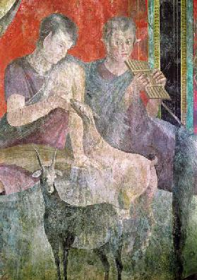 Satyr Playing the Panpipes and Nymph Breastfeeding a Goat 60-50 BC