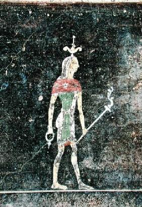 Standing god, detail from a tablinium decorated with Egyptian-style paintings c.27-14 BC
