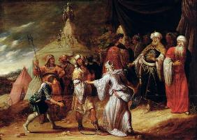 Samuel Killing Agag, King of the Amalekites (oil on panel) 17th