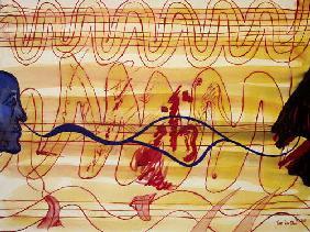 Kunstdruck von Romed Unsinn - Ton im Ohr (ich und mein Tinitus)