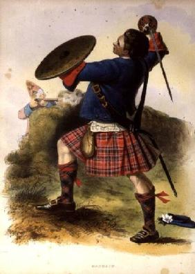 Gillies McBean at Culloden, 1746, lithograph after a painting