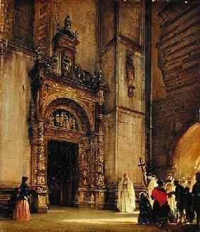 Side portal of Como Cathedral 1850  card