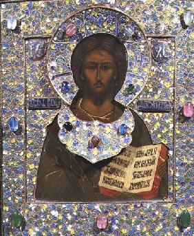 Christ Pantocrator, icon  panel with gilt and cloisonne enamel frame)