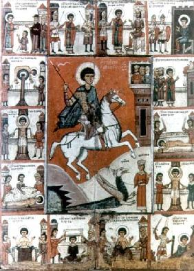 St. George surrounded by scenes from his life 14th centu