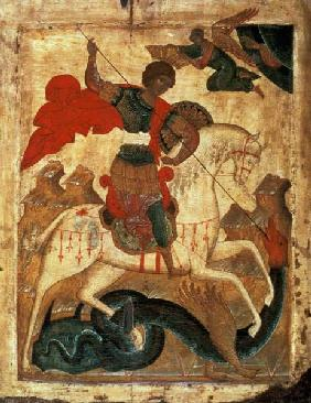 St. George and the Dragon (tempera on fabric, gesso, and 16th