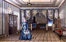 A Spinster in a Neo-Classical Sitting Room Interior c.1835  wi