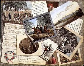 Trompe l'oeil collage of sheet music, greeting cards and poems c.1821  &
