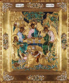 Icon depicting Abraham and the Three Angels, Moscow School (enamel)