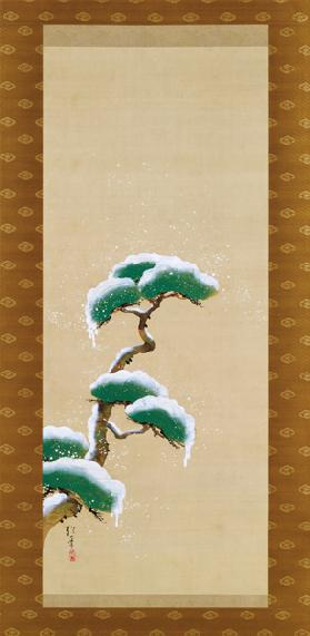 Hanging Scroll Depicting A Snow Clad Pine, from A Triptych of the Three Seasons,