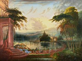 A Romantic Landscape with the Arrival of the Queen of Sheba c.1830