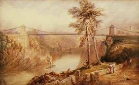 View of the Avon Gorge with the approved design for the Clifton Suspension Bridge 1831