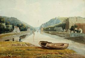 View down the Avon with Hotwells and Clifton c.1825