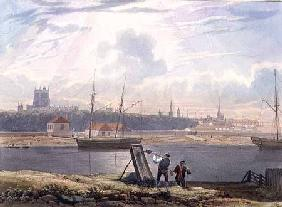 View across the Floating Harbour with the Cathedral and City Churches c. 1825