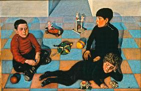 Three children with toys on a chequered floor