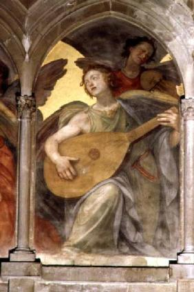 Musical angel within a trompe l'oeil cloister, detail of an angel playing a mandolin, from the inter from the i
