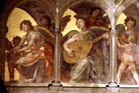 Musical angels within a trompe l'oeil cloister, from the interior west facade from the i
