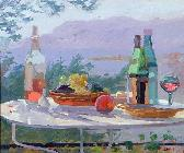 Sarah  Butterfield - Still Life and Seashore, Bandol (oil on canvas)