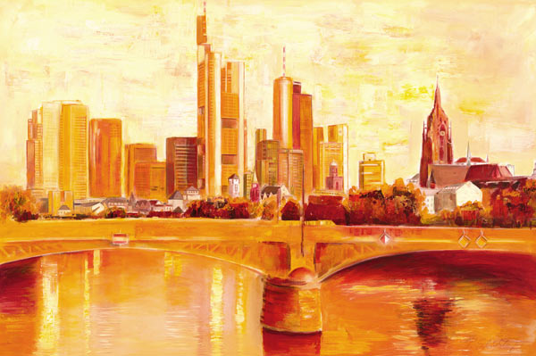 skyline frankfurt petra sch ler als kunstdruck oder handgemaltes gem lde. Black Bedroom Furniture Sets. Home Design Ideas