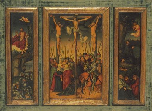 kreuzigungs triptychon schule lucas cranach d als kunstdruck oder handgemaltes gem lde. Black Bedroom Furniture Sets. Home Design Ideas