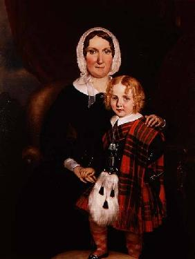 Portrait of a Scottish Woman with her Young Son in Highland Dress c.1860