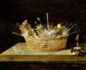 Still Life with a Basket of Glasses 1644