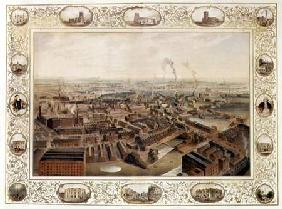 Bolton from Blinkhorn's Chimney with vignettes of Local Buildings 1848  on