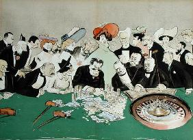 Gamblers in the casino at Monte-Carlo. c.1910 (colour litho) 1590