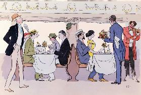 Restaurant Car in the Paris to Nice Train, 1913 (colour litho) 15th