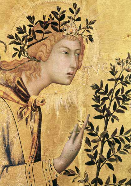 The Annunciation with St. Margaret and St. Asano, detail of the Archangel Gabriel 1333