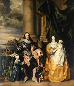Charles I (1600-49) and his Family (oil on canvas) 1819
