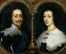 Charles I of England (1600-49) and Queen Henrietta Maria (1609-69) (oil on canvas) 19th