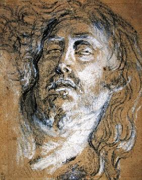 Head of the dead Christ (charcoal & chalk on paper)