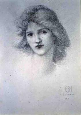 Female Head, study for 'The Car of Love' 1895 cil o