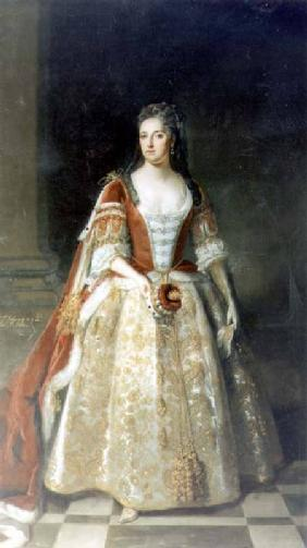Portrait of Angelina Magdalena (c.1666-1736), second wife of 1st Viscount St. John in coronation rob 1727