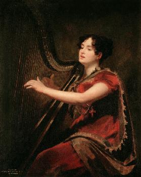 The Marchioness of Northampton, Playing a Harp c.1820