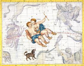 Constellation of Gemini with Canis Minor, plate 13 from 'Atlas Coelestis', by John Flamsteed (1646-1 1857
