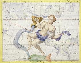 Constellation of Aquarius, plate 9 from 'Atlas Coelestis', by John Flamsteed (1646-1710), published 1916