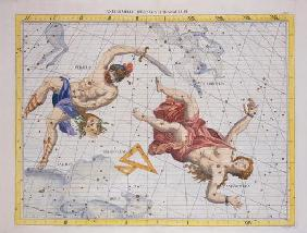 Constellation of Perseus and Andromeda, from 'Atlas Coelestis', by John Flamsteed (1646-1719), pub. 17th