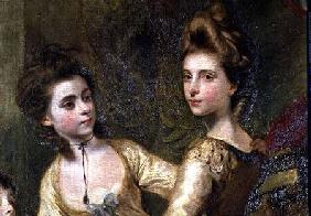 Two Elegant Young Girls, detail from the painting The Fourth Duke of Marlborough and his Family 1777-78