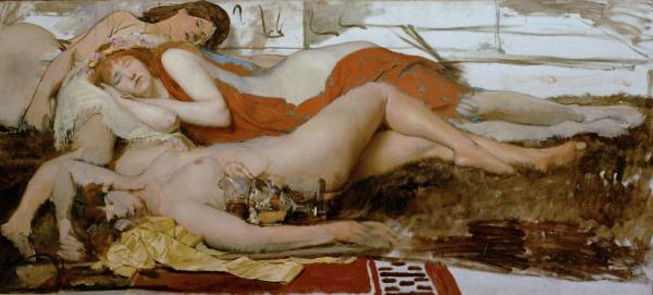 Bild:  Sir Lawrence Alma-Tadema - Erschöpfte Mänaden